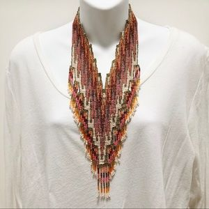 ANTHROPOLOGIE Beaded Sunset Fringe Bib Necklace
